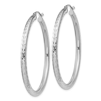 Sterling Silver Rhodium-plated 3.00mm Diamond Cut Hoop Earrings