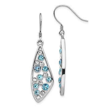 Sterling Silver Rhodium-plated Blue Crystal Wing Dangle Earrings