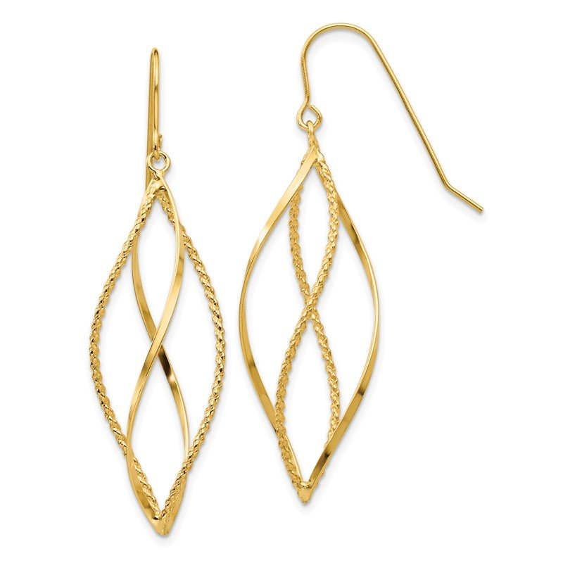 Quality Gold 14k Polished and Textured Twisted Dangle Earrings