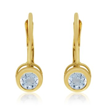 14k Yellow Gold 4mm Aquamarine Bezel Leverback Earrings