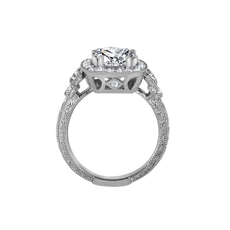 c42c35fdb945 RD Signature Bridal Round Cut Halo Diamond Vintage Engagement Ring. Stock    RM1360R-F7
