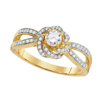 10k Yellow Gold Womens Round Diamond Solitaire Bridal Wedding Engagement Ring 3/8 Cttw