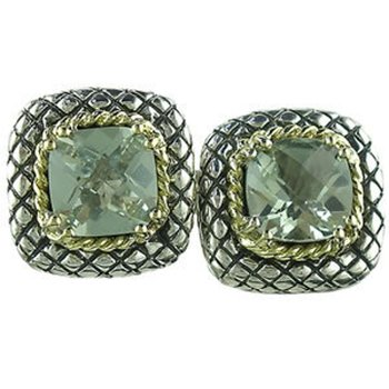 18kt and Sterling Silver Cushion Green Amethyst Button Earrings