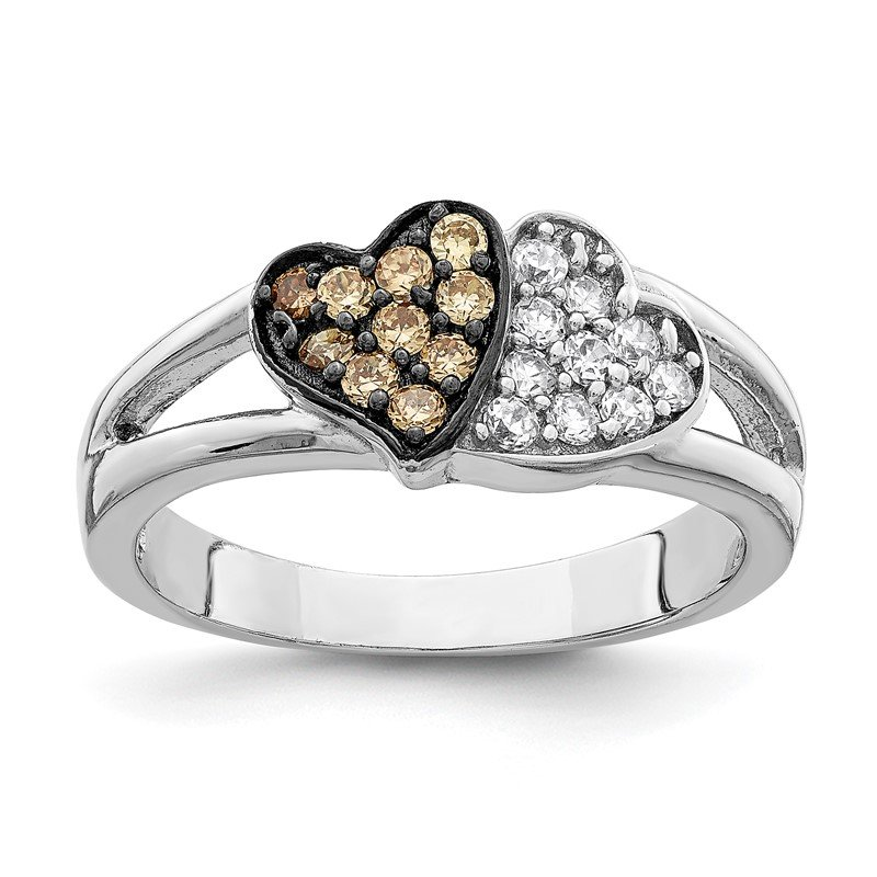 Quality Gold Sterling Silver Rhodium Champagne & Clear CZ Hearts Ring