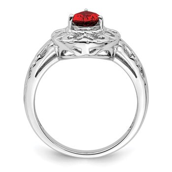 Sterling Silver Rhodium Plated Garnet Teardrop Ring