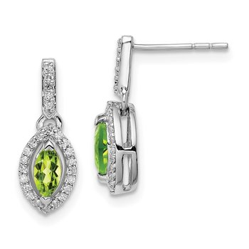 Sterling Silver Rhodium-plated Diamond & Peridot Post Dangle Earrings