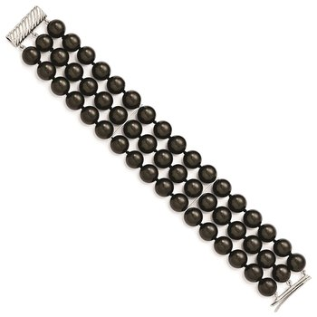 Sterling S Majestik Rh-pl 3 Row 10-11mm Blk Imitat Shell Pearl Bracelet