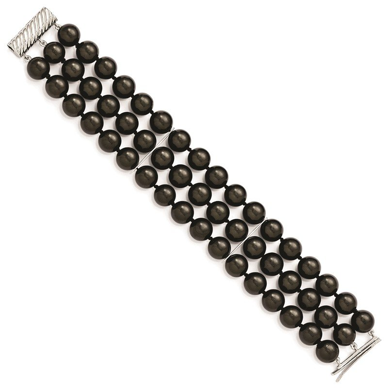 Fine Jewelry by JBD Sterling S Majestik Rh-pl 3 Row 10-11mm Blk Imitat Shell Pearl Bracelet