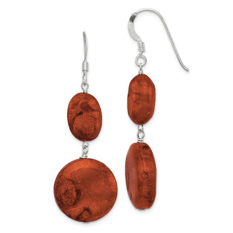Quality Gold Sterling Silver Reconstituted Red Coral Dangle Earrings