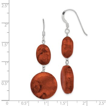 Sterling Silver Reconstituted Red Coral Dangle Earrings