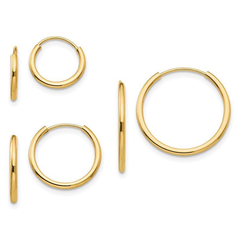 Quality Gold 14k Madi K Polished Endless Hoop 3 Pair Earring Set