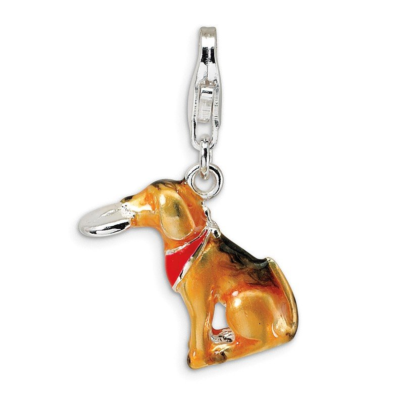 Quality Gold SS RH 3-D Enamel Light Brown Dog & Toy w/Lobster Clasp Charm