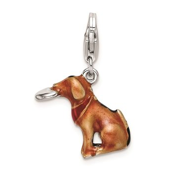 SS RH 3-D Enamel Light Brown Dog & Toy w/Lobster Clasp Charm