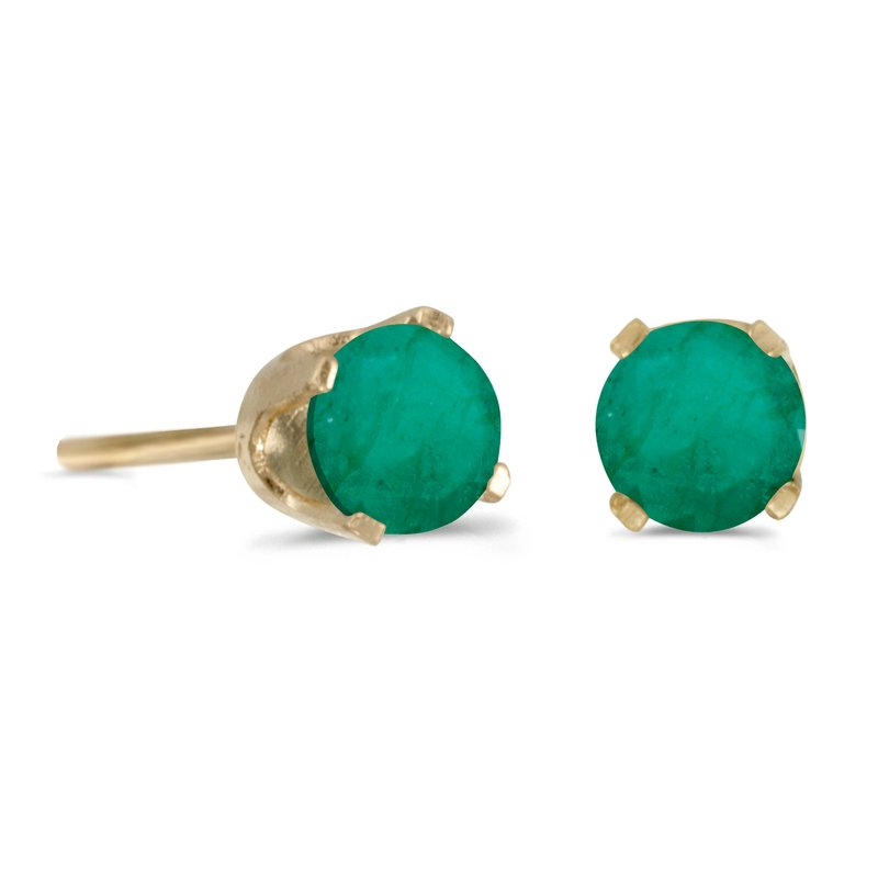 Color Merchants 4 Mm Round Natural Emerald Stud Earrings In 14k Yellow Gold