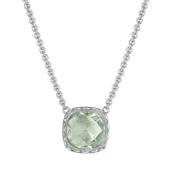 Cushion Gem Necklace with Prasiolite