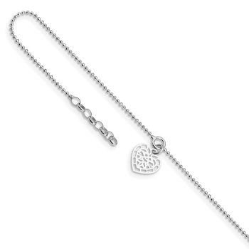 Sterling Silver Rhodium-plated Heart Charm 10in Plus .5in Ext Anklet