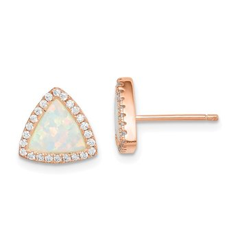 Sterling Silver Rose-tone Created Opal and CZ Halo Post Earrings