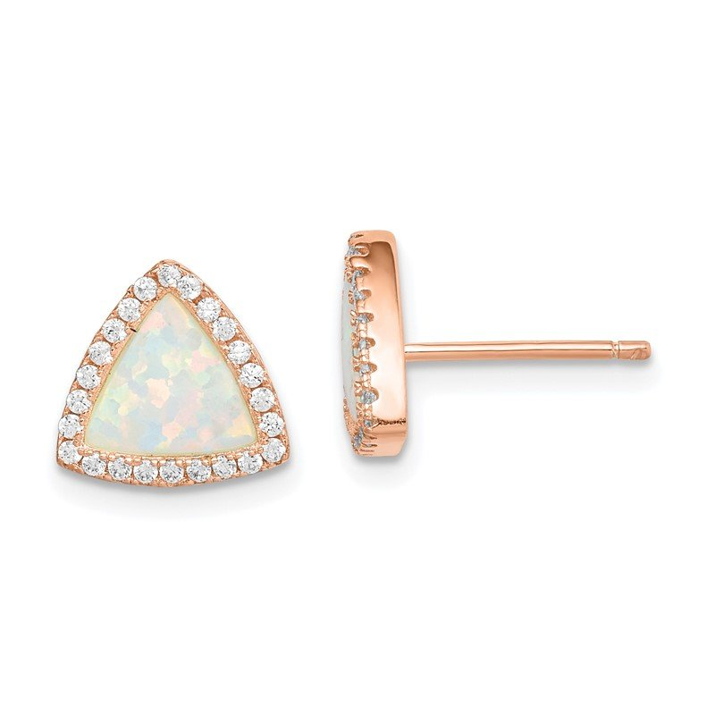 Quality Gold Sterling Silver Rose-tone Created Opal and CZ Halo Post Earrings