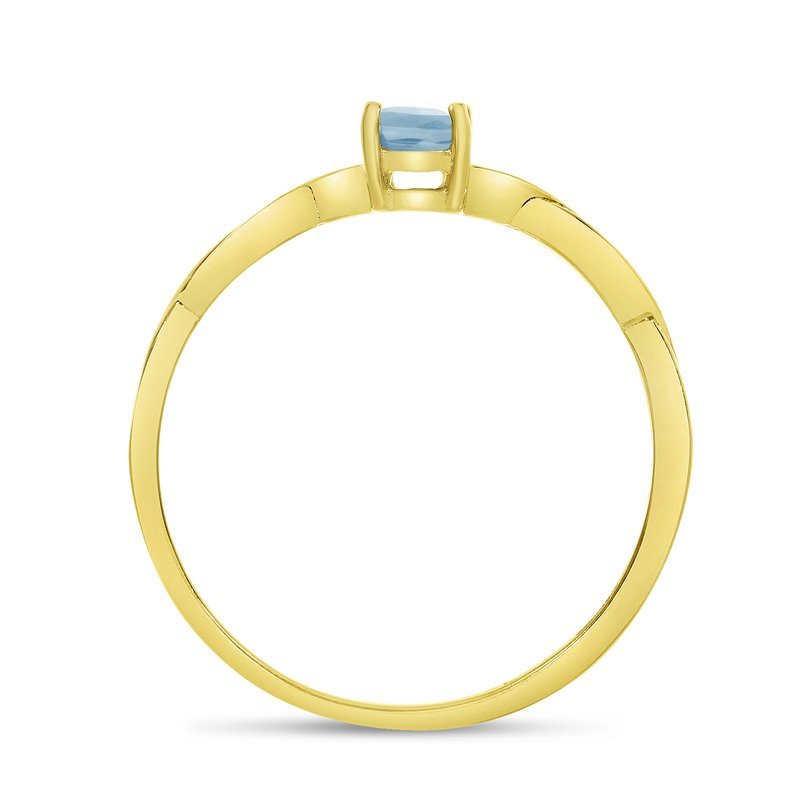 Color Merchants 14k Yellow Gold Oval Aquamarine Ring