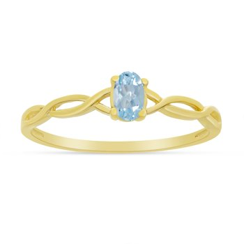14k Yellow Gold Oval Aquamarine Ring