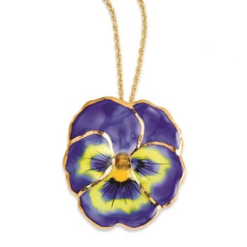 24K Gold-trim Lacquer Dipped Blue Pansy with 20 inch Gold-tone Necklace