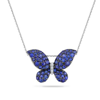 "14K BUTTERFLY PENDANT 62 SAPPHIRES 1.55CT & 4 DIAMONDS 0.04CT 18"" CHAIN"