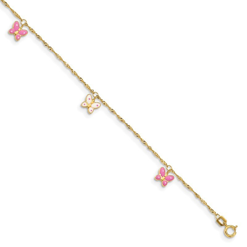 Quality Gold 14k Adjustable Enameled Butterfly Anklet