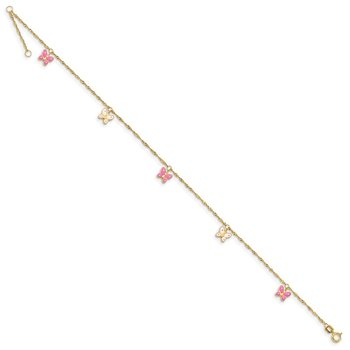 14k Adjustable Enameled Butterfly Anklet