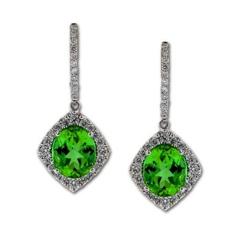 Green Tourmaline and Diamond Earring