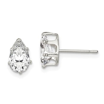 Sterling Silver 8x5 Pear Snap Set CZ Stud Earrings