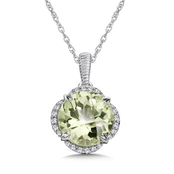 Green Amethyst and Diamond Pendant in 14K White Gold