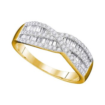 10k Yellow Gold Womens Round Baguette Diamond Crossover Band Ring 5/8 Cttw