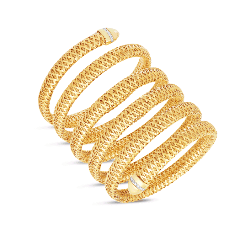 Roberto Coin 18KT GOLD FLEXIBLE SNAKE CUFF WITH DIAMONDS