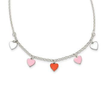 Sterling Silver Polished Enamel Heart Childs Necklace
