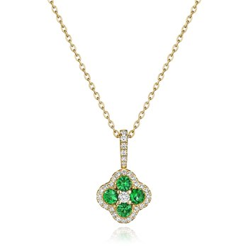 Front & Center Emerald and Diamond Cluster Pendant