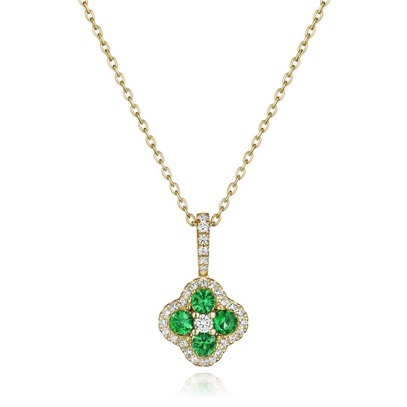 Fana Front & Center Emerald and Diamond Cluster Pendant