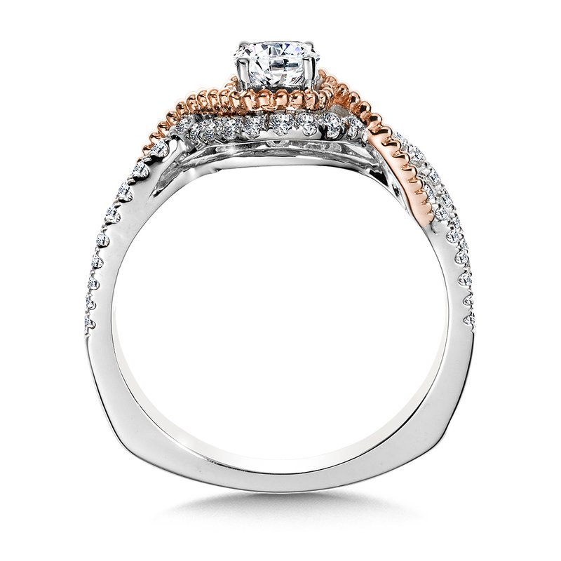 Valina Halo Engagement Ring Mounting in 14K White/Rose Gold (.32 ct. tw.)