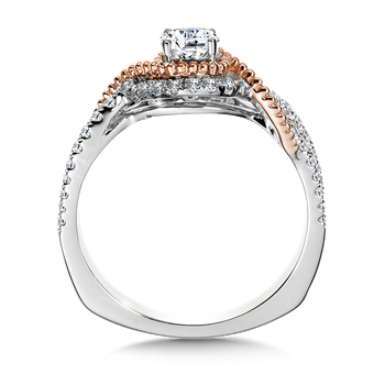 Halo Engagement Ring Mounting in 14K White/Rose Gold (.32 ct. tw.)