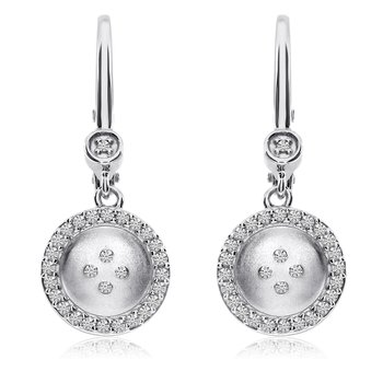 14K White Gold Satin Button Lever Back Earrings