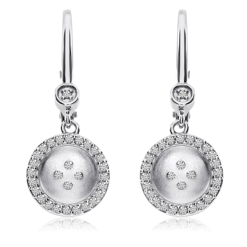 Color Merchants 14K White Gold Satin Button Lever Back Earrings
