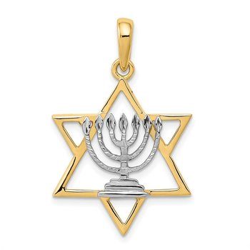 14K w/ White Rhodium Solid Menorah In Star Of David Charm