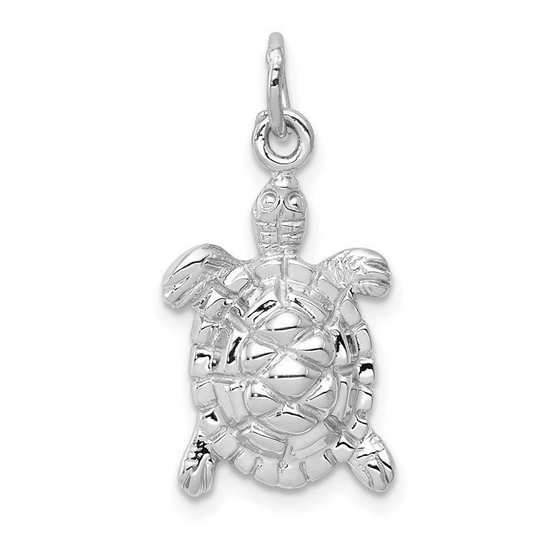 Quality Gold 14k White Gold Solid Polished Open-Backed Turtle Charm