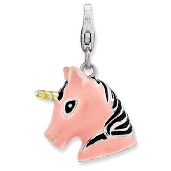 SS RH 3-D Enameled Unicorn Head w/Lobster Clasp Charm