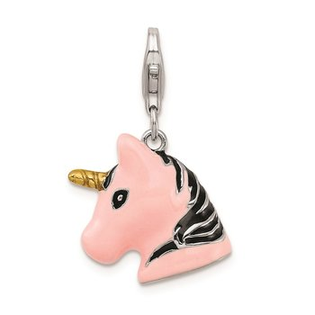 Sterling Silver Amore La Vita Rhodium-plated 3-D Enameled Unicorn Charm