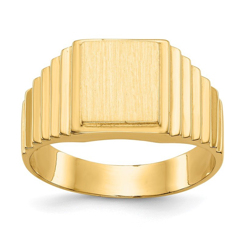 Quality Gold 14k 10.0x8.5mm Open Back Men's Signet Ring