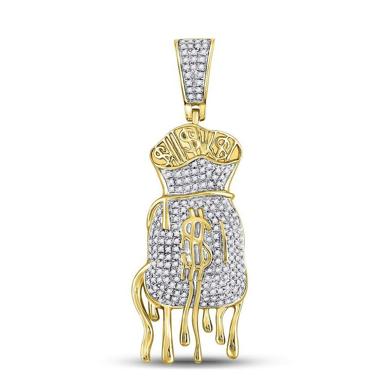 Kingdom Treasures 10kt Yellow Gold Mens Round Diamond Dripping Money Bag Charm Pendant 1/2 Cttw