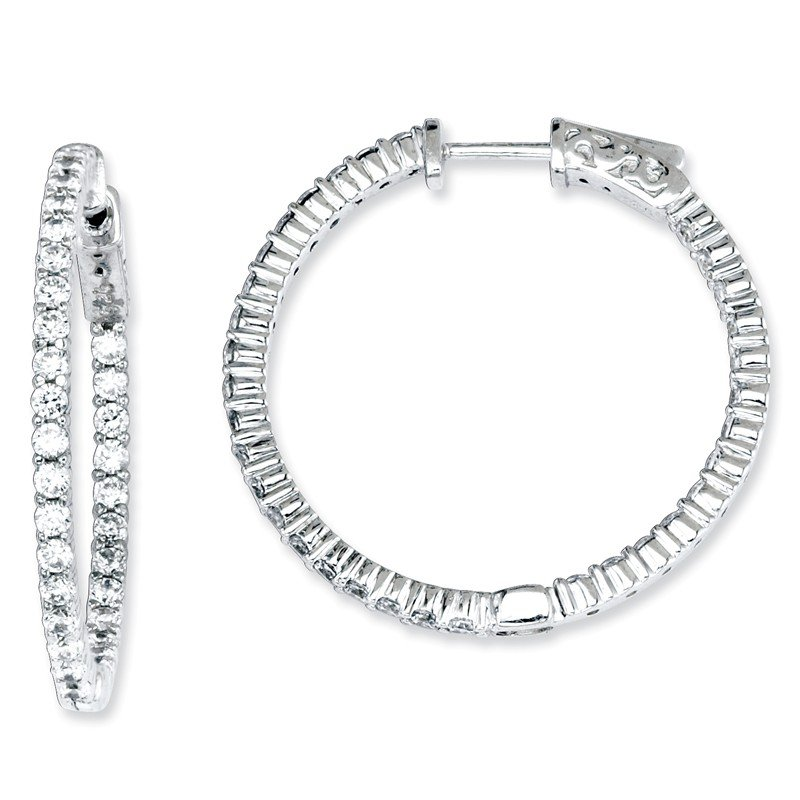 Quality Gold Sterling Silver CZ 66 Stones In and Out Round Hoop Earrings