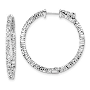 Sterling Silver CZ 66 Stones In and Out Round Hoop Earrings