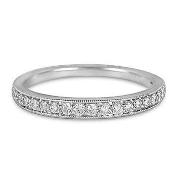 Platinum and diamond Prong Set Wedding Band with Milgrain Edge