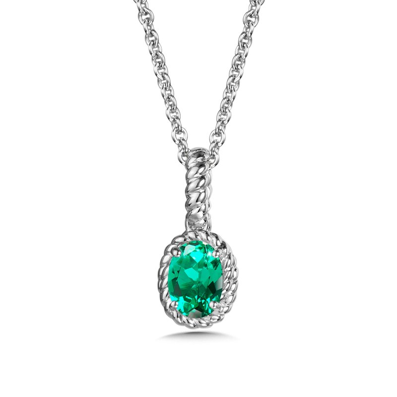 SDC Creations Created Emerald Pendant in Sterling Silver